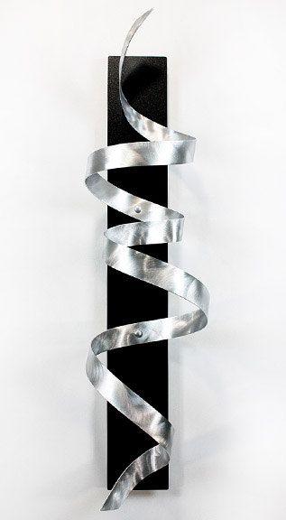 Abstract Metal Wall Art Sculpture / Black Knight Silver Twist by Jon Allen. $275.00, via Etsy.
