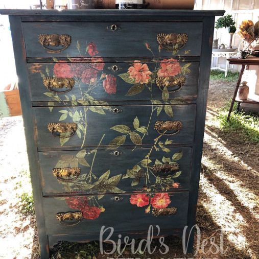 Painted In Chalk Paint By Annie Sloan In Aubusson Blue With Clear And Black Wax Finishes Decoupage Furniture Furniture Makeover Diy Painting Wooden Furniture