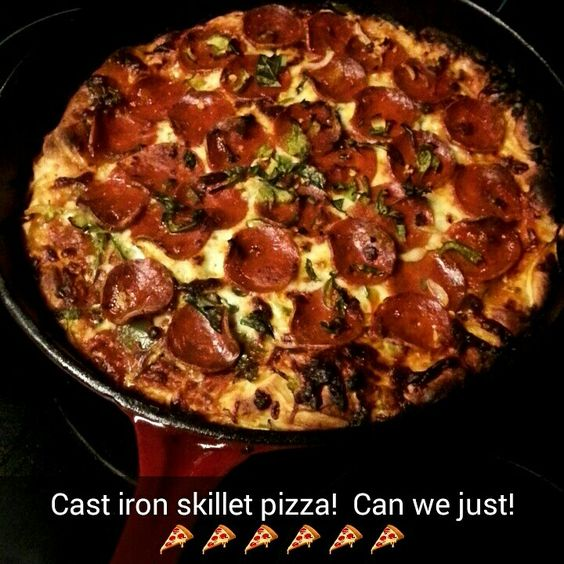 Made my first pizza in a cast iron skillet  This is the only way to go!! It turned out crazy good. Old Chicago style