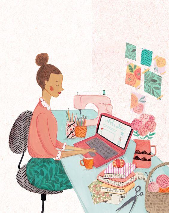 Marketing de contenido, ilustración de Emma Block para Mollie Makes