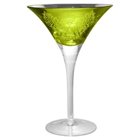 Shaken or stirred, your favorite cocktails will be served in chic style with this mouth-blown martini glass, showcasing scrolling details and a lemongrass fi...