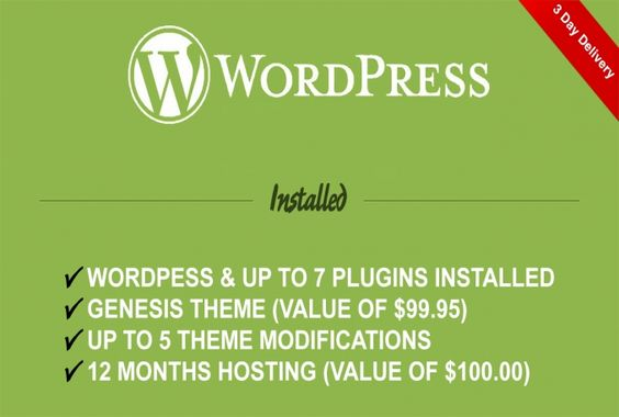 RMac0001 will install wordpress with your choice of genesis themes and host your site for 12 months for $50. He also make up to 5 modifications (logo, layout, fonts, colors...) to the Wordpress theme for you and install a maximum of 7 plugins for you.