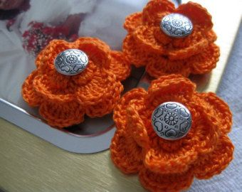 Crochet Suit Boutonnieres, Set of 3, Orange 1&1/2 inch Heart Buttons Flower Pins