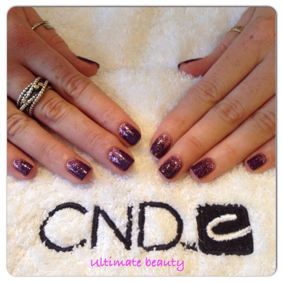 Rock royalty shellac with dusty pink splashes of glitter