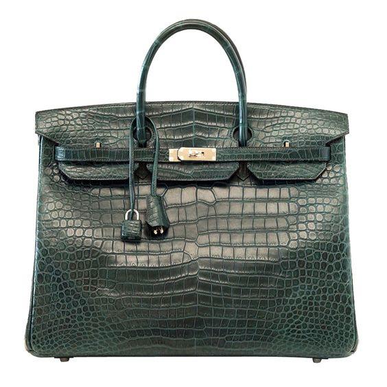 birkin price - HERMES Birkin 40 Bag Vert Fonce matte Porosus crocodile palladium ...