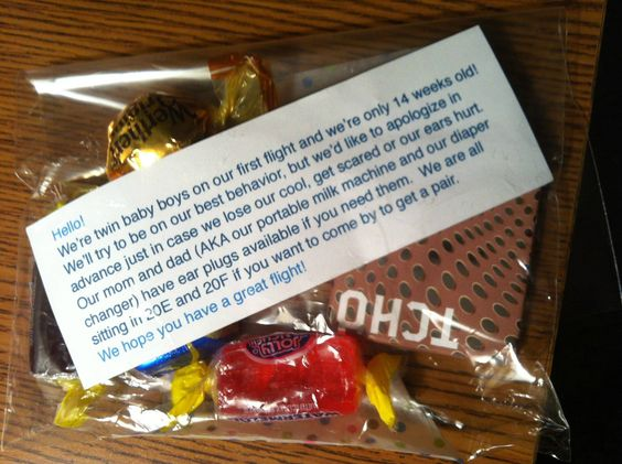 Thoughtful parents handed these out to people sitting near them on their airplane flight
