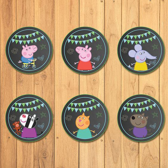 Peppa Pig Cupcake Toppers Chalkboard Blue  Peppa by SometimesPie