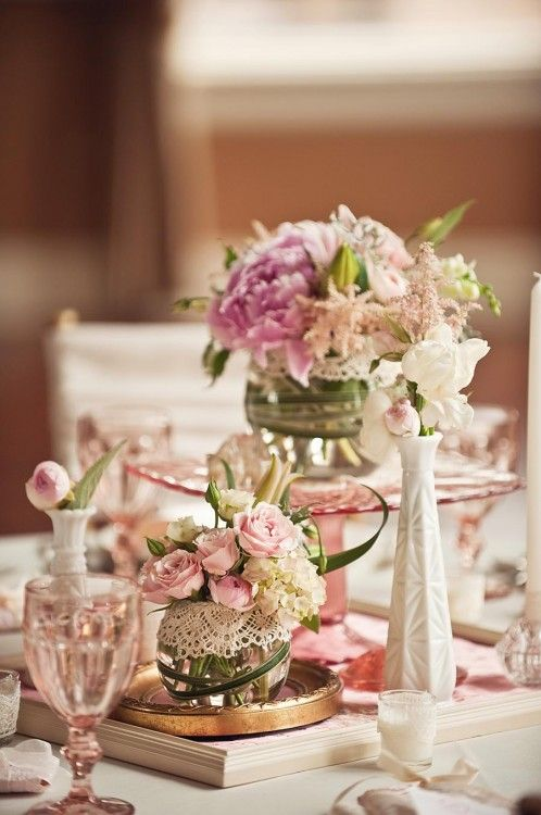 Love this table, white, pink, milk glass lace, candles, all your favs. best captures styling for reception tables