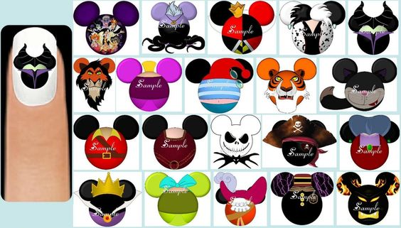 60 x Disney Characters or Princesses or Villains Nail Art Decals Free Gift | eBay