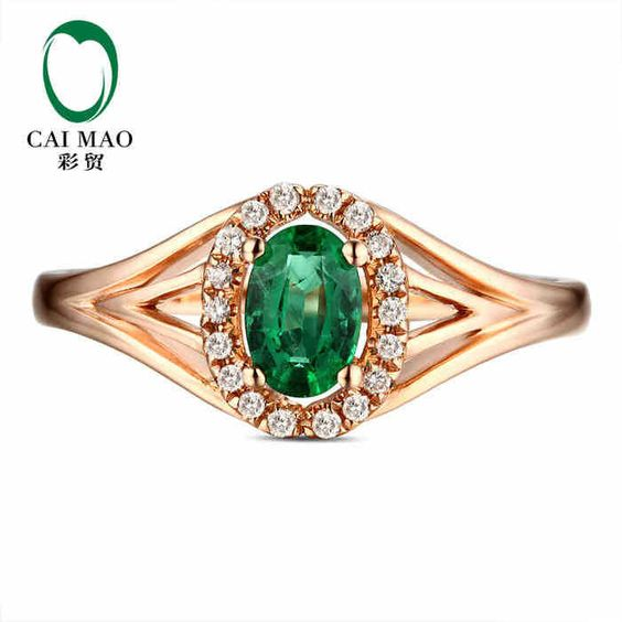 caimao 0.41 ct natural emerald 14kt/585 rose gold 0.09 ct full cut diamond engagement ring gemstone colombian