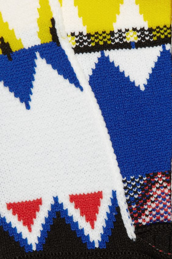 Jil Sander sweater: royal-blue mid-weight knitted polypropylene, multicolored zigzag-print hood, long sleeves, white ribbed trims with printed detail, concealed asymmetric zip fastening at back. Slips on. 100% polypropylene. Specialist clean. Designer color: Cobalt.