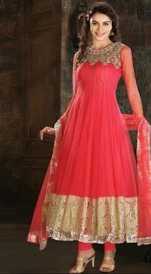 thnic Pink Embroidered Net Long Anarkali Suit Look fabulous