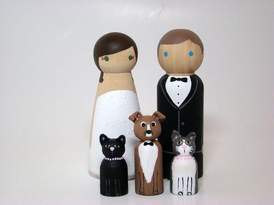 Custom Wedding Cake Toppers plus 3 Pets. $70.00, via Etsy.