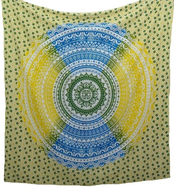 Blue Yellow Ombre Boho Bohemian Bedspread Beach Blanket Wall Tapestry