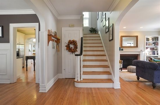Colors stairs and doors on pinterest for Center hall colonial living room ideas