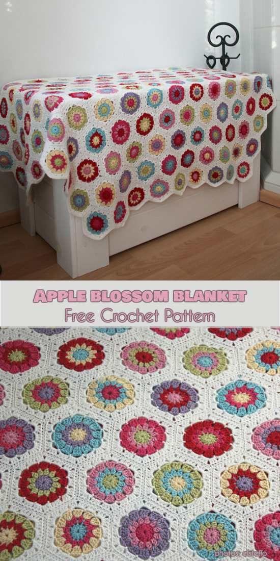 Apple Blossom Hexagon Blanket Free Crochet Pattern