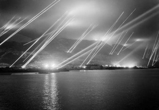 Searchlights on the Rock at Gibraltar, 1942