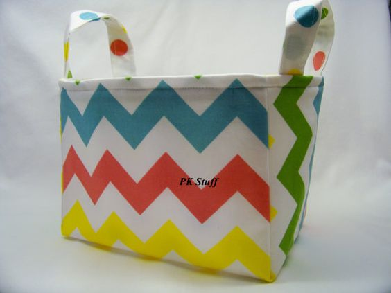 PK Fabric Basket in Chevron in Girl Colors  Ready To by PKStuff, $14.50
