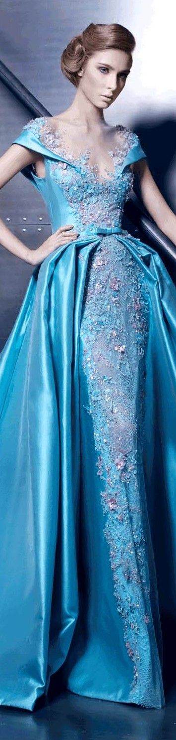 Ziad Nakad ~ Couture Floral Applique Aqua Satin Gown 2015