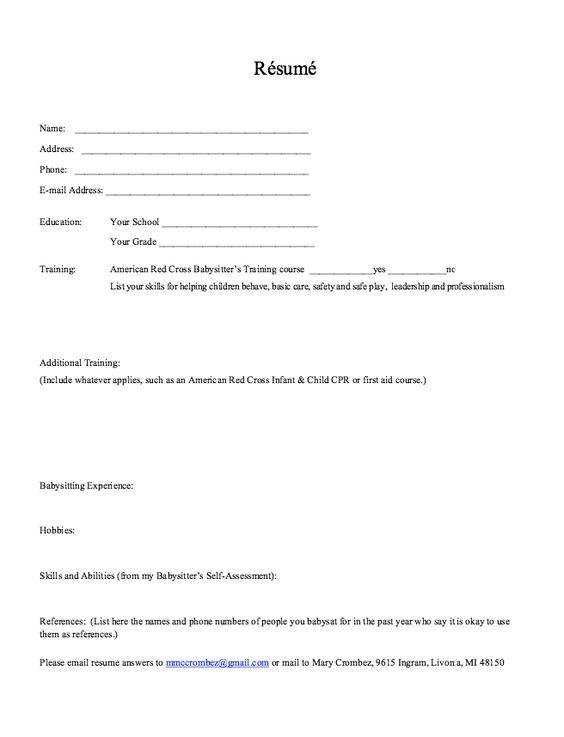 Resume Template For BabySitter -    exampleresumecvorg resume - resume reference list