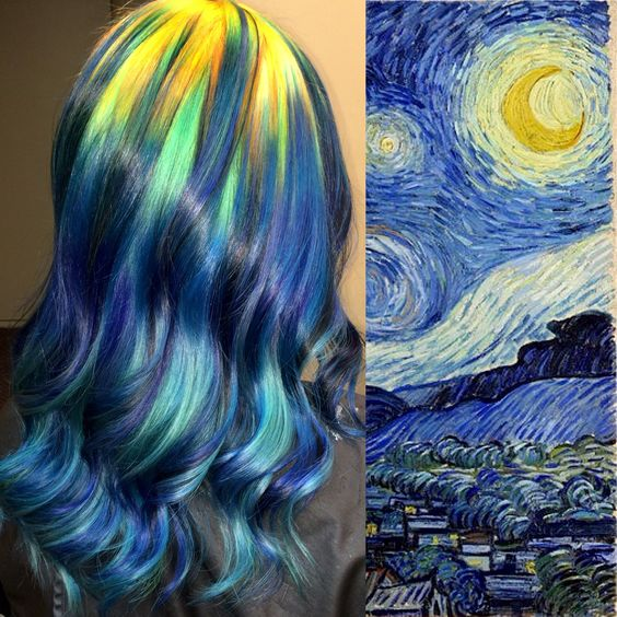 """Van Gogh """"Starry Night"""" hair color...Oooh, that's awesome!"""