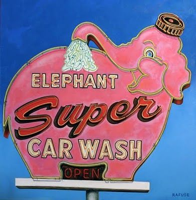Totally cute vintage Neon Sign .. Love the pInk Elephant !