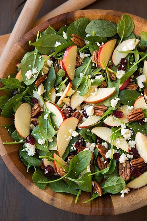 Finish off this apple pecan feta spinach salad with a maple cider vinaigrette.   #holiday #recipe #food #ideas #thanksgiving #comfortfood #easyrecipe #inspiration
