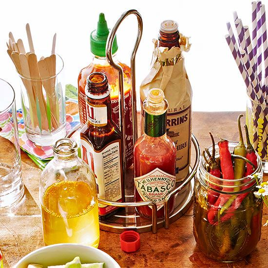 Bloody Mary sauces: steak sauce, barbecue sauce, teriyaki sauce, pickle juice, spicy salsa or olive juice
