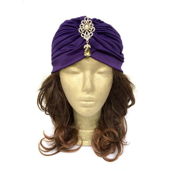 Purple Turban Hat Stretch Women Turban Hat 1920s by curtainroad