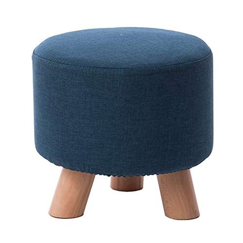 Luhen Multipurpose Practical Footstool Upholstered Ottoman Pouffe Change Shoe Small Bench Solid Wood Round Single