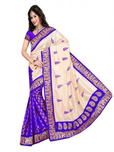 Buy Blue-White Floral Printed #Glory #Cotton #Saree @ Lowest Price!!! Visit Now!!