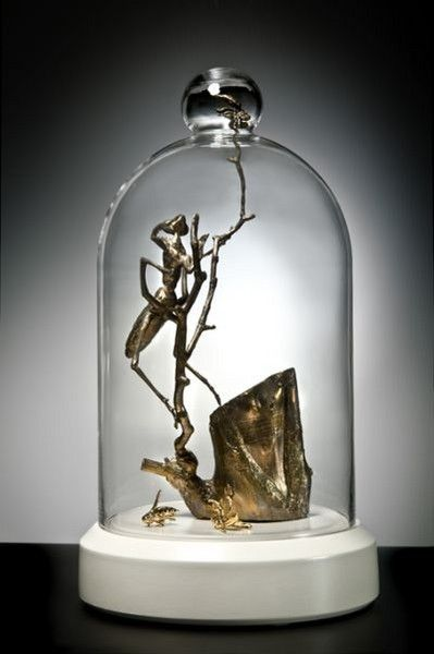 Kelly Allsopp - I Spy - Cast bronze, slip cast porcelain with gold lustre on a ceramic base.