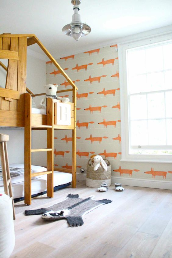 Gorgeous wallpaper with splash of colour and fox! | 10 Quirky Wallpaper Designs- Tinyme Blog: