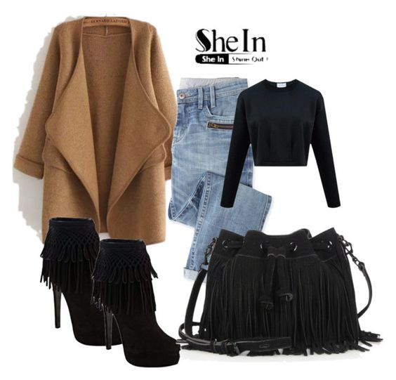 """""""Khaki Long Sleeve Stitch Pocket Loose Cardigan - Shein"""" by dijanakovacevic ❤ liked on Polyvore featuring Wrap, Christian Dior and Rebecca Minkoff"""