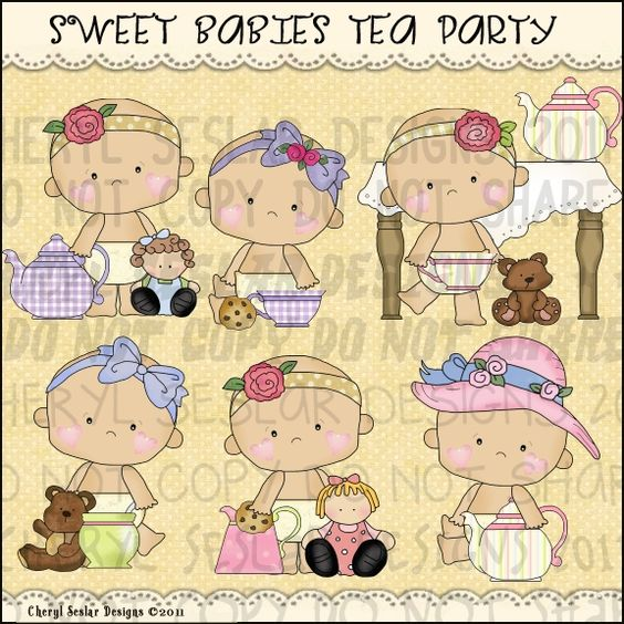 Sweet Babies Tea Party 1 - Clip Art by Cheryl Seslar : Digi Web Studio, Clip Art, Printable Crafts & Digital Scrapbooking!