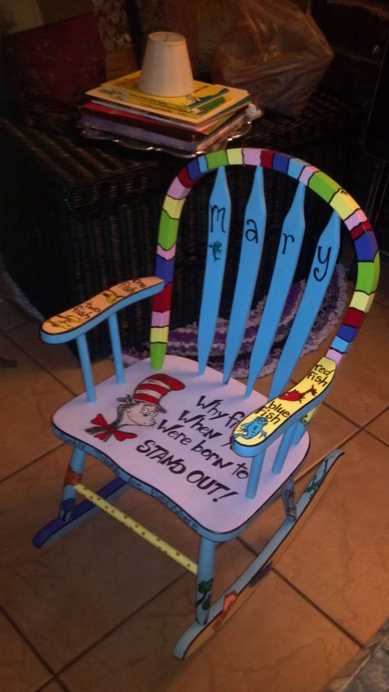 Childs Rocking Chair Custom Painted Dr Suess Diy Home