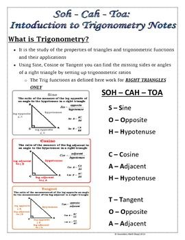 Right Triangles -Soh Cah Toa (Sin, Cos, Tan) Intro To Trigonometry ...