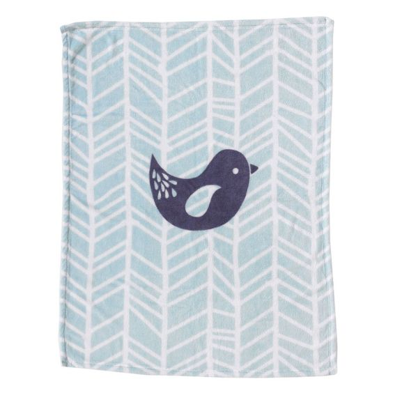 Printed Plush Blanket - Grey Bird