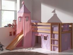 lit fille princesse lit sur lev avec toboggan rosa. Black Bedroom Furniture Sets. Home Design Ideas