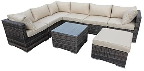 The Smu 8 Piece Corner Sectional Outdoor Garden Patio Furniture Taupe Online Shopping Totoppremium In 2020 Corner Sofa Outdoor Rattan Corner Sofa Aluminium Outdoor Furniture
