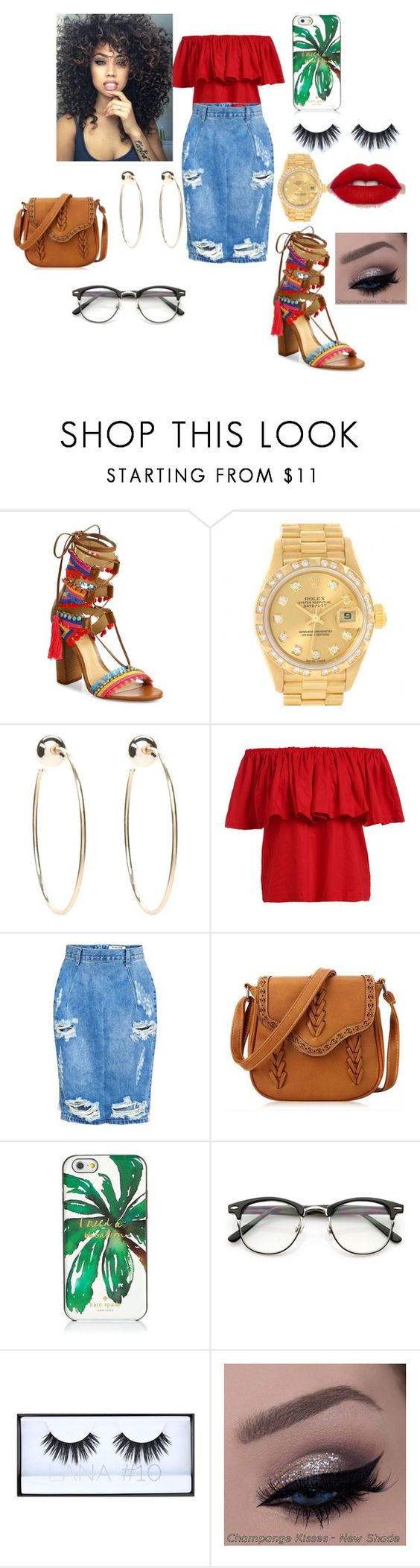 """""""Island gal. """" by kashout ❤ liked on Polyvore featuring Schutz, Rolex, Bebe, One Teaspoon, Kate Spade and Huda Beauty"""