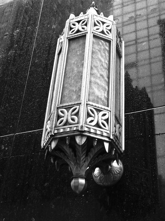Art deco light fixture exterior chrysler building nyc for Art deco exterior light fixtures