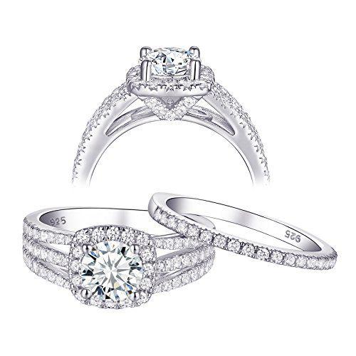 Wuziwen Wedding Rings For Women Aaa Cz Cubic Zirconia Sterling Sil Engagement Rings Bridal Sets Engagement Rings Wedding Bands Set Sterling Silver Wedding Band