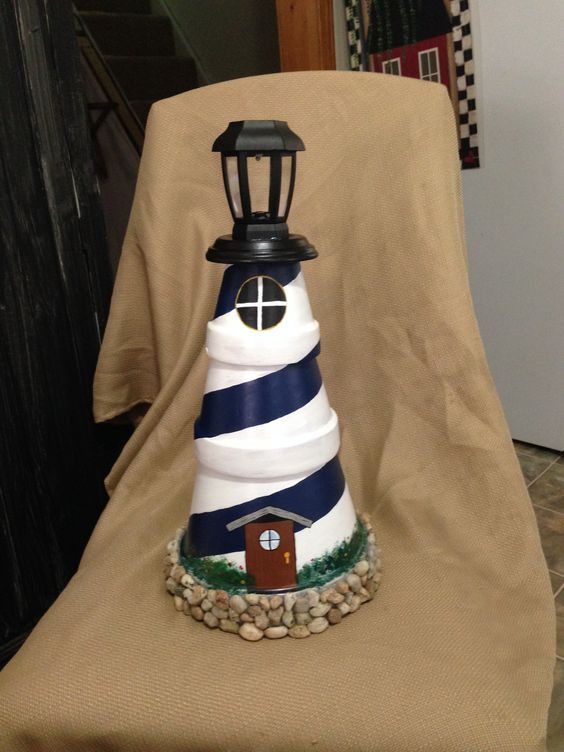 Clay pot lighthouse with solar powered light.