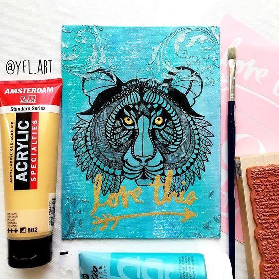 Mini mixed media canvas. Tiger edition. Acrylicsinkart screens golds...  . . . . #mixedmedia #mixedmedia artist #mixedmediaart #tiger #tigerart #canvas #gold #ink #illustration #drawing #artscreen #crafts #crafters #smallbusiness #shoplocal #torontoartist #canadianart #torontoart #etsystore #etsy #etsyshop #etsyseller #etsykids #etsyca #etsycanada  #loveart #loveit by yfl.art