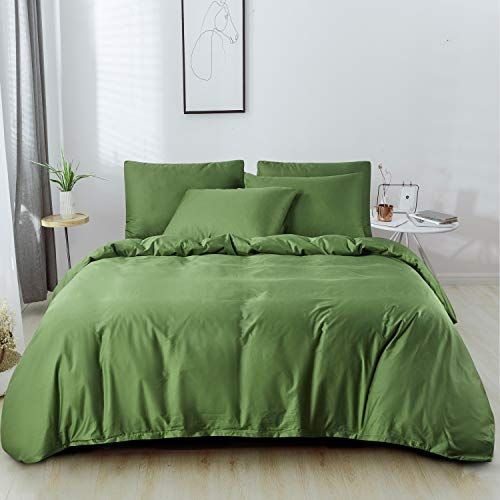 Jellymoni Green 100 Organic Cotton Duvet Cover Queen Set With Zipper Closure And Corner Ties In 2021 Queen Duvet Covers Organic Cotton Duvet Cover Cotton Duvet Cover