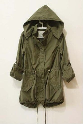 Details about Womens Hoodie Drawstring Army Green Military Trench