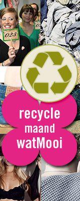 Het is #Recycle-maand op watMooi. We laten zien dat je dat je van oude materialen mooie nieuwe dingen kunt maken. Want recyclen is beter voor het milieu én leuk om te dragen. We gaan opzoek naar de super recycelaar, organiseren een watMooi #kledingruilfeest en zetten gerecyclede # mode in het spotlicht. http://www.watmooi.nl/shop/content/watmooi_recycle_maand