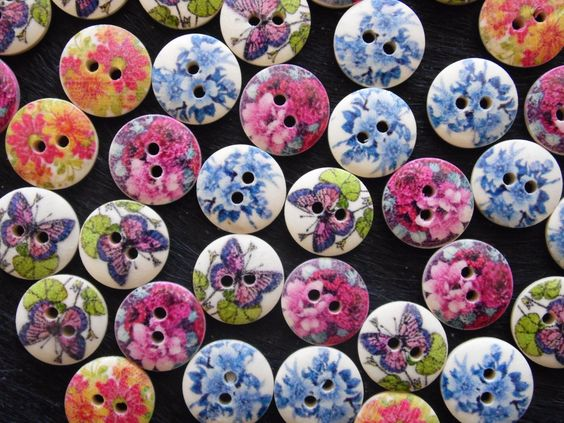 Küche Bunt : 20 Knöpfe aus Holz mit Blumen bunt Durchmesser 15 mm im ...