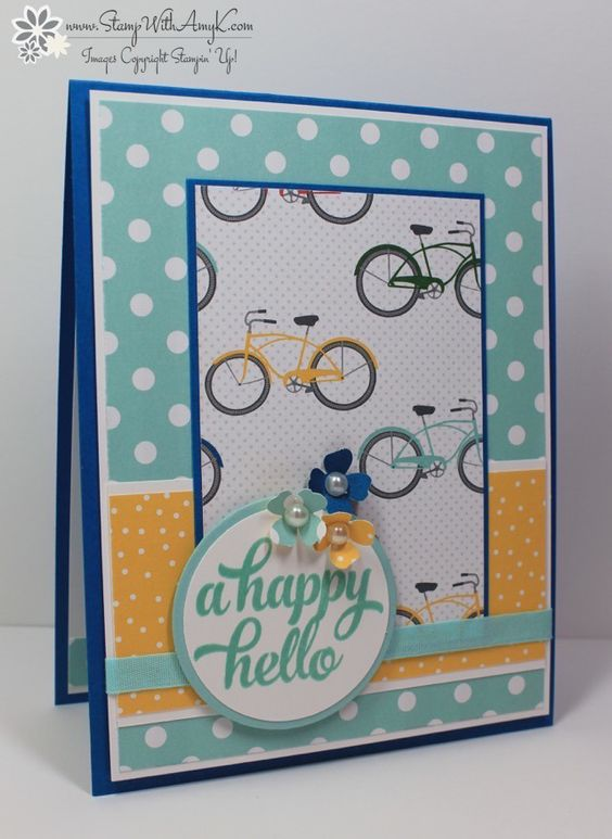 Tin of Cards - Stamp With Amy K. Paper from tabbed divider cards in kit, Sheltering Tree bicycle.